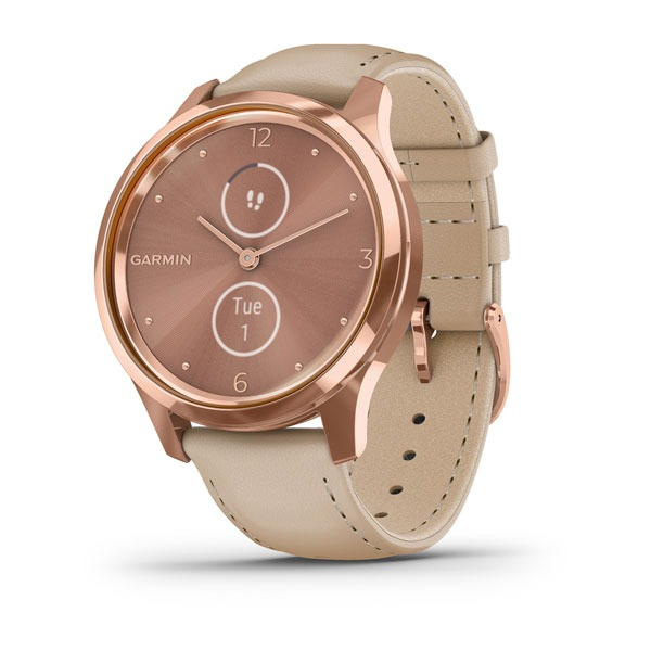 Garmin vívomove® Luxe, Lightsand Leather / 18k Rose Gold PVD